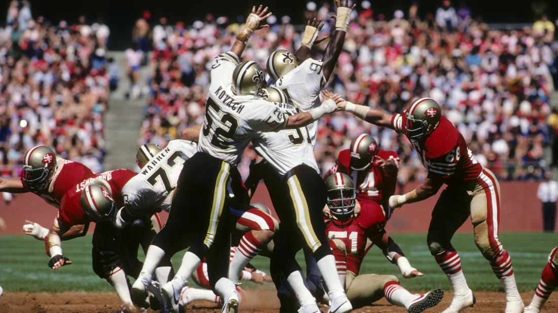 The New Orleans Saints play the 49ers.