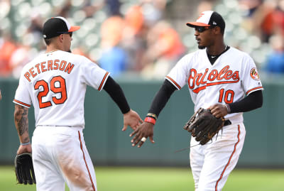The Orioles celebrate a win at Oriole Park.