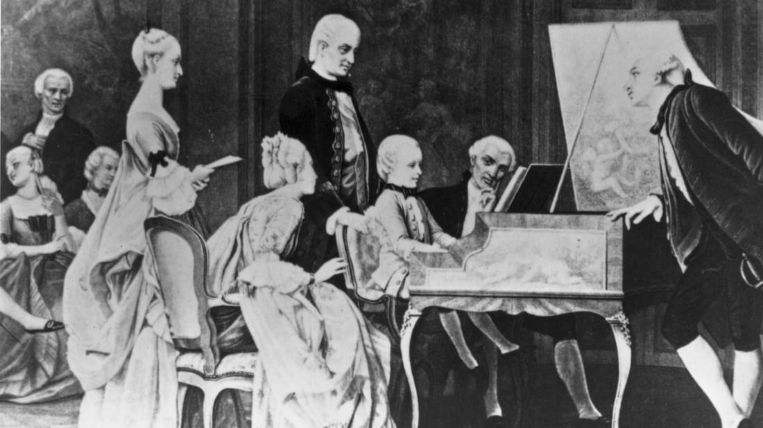 Classical composer Wolfgang Amadeus Mozart playing piano at the court of Francis I as a child.