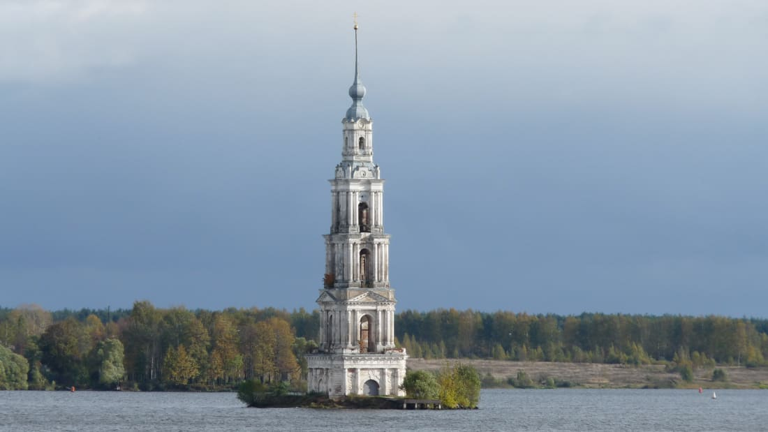 The drowned belfry in Kalyazin, Russia