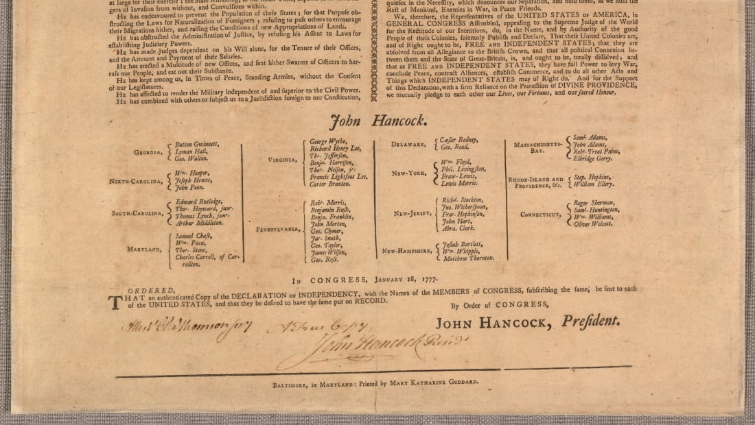 Look closely, and you will see Mary Katharine Goddard's name at the bottom of the Declaration of Independence.