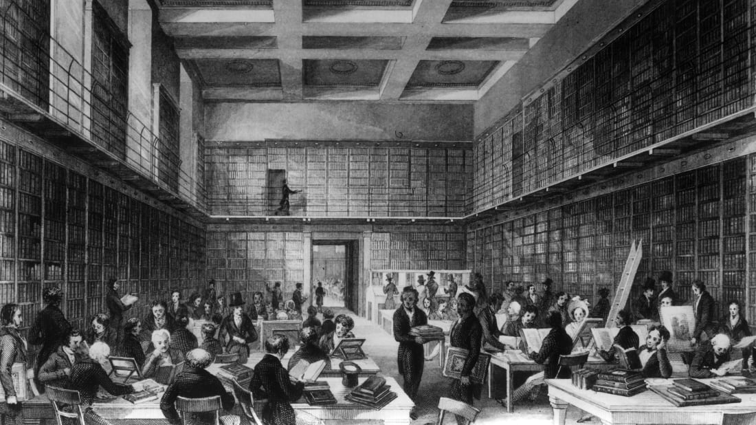 The reading room of the British Library, circa 1840