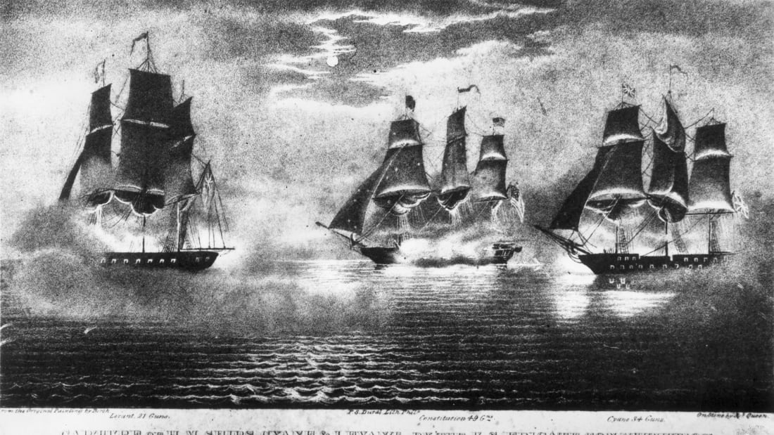 "The Constitution, a.k.a. ""Old Ironsides,"" captures the British vessels Cyane and Levant during the War of 1812."