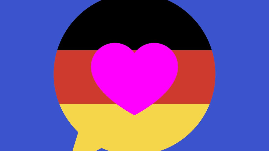 Photo illustration by Mental Floss. Images: iStock/chokkicx (flag), iStock.com/JakeOlimb (speech bubble with heart)