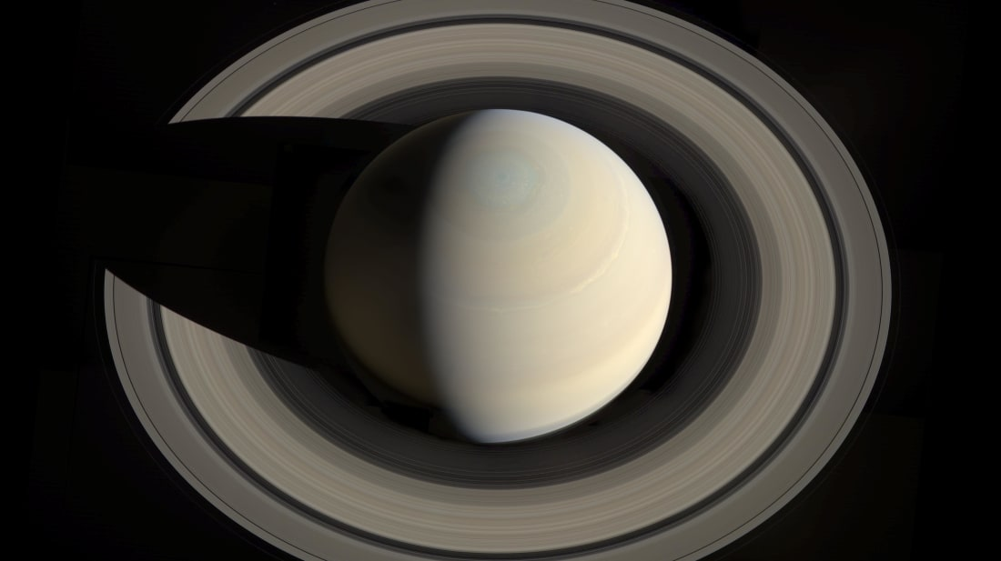 This portrait looking down on Saturn and its rings was created from images obtained by NASA's Cassini spacecraft on October 10, 2013.