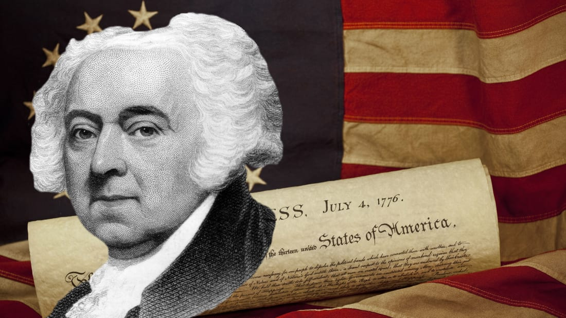 John Adams: National Archive/Newsmakers/Hulton Archive. Background: iStock/Getty Images Plus/smartstock.