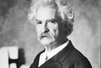 A portrait of the writer Mark Twain—author of several unfinished manuscripts—circa 1900.