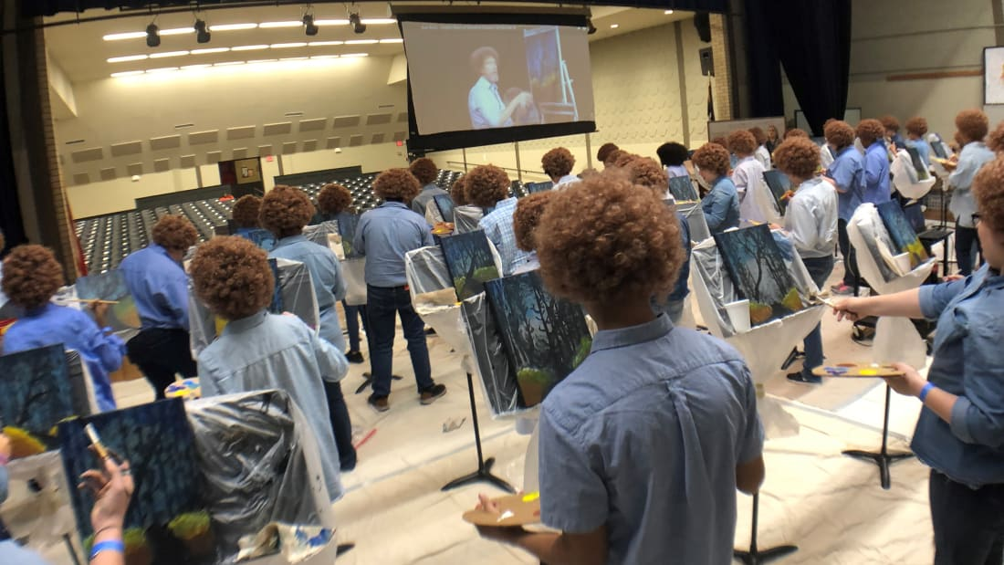 Texas Middle Schoolers Don Wigs and Paint Happy Little Trees in Tribute to Bob Ross