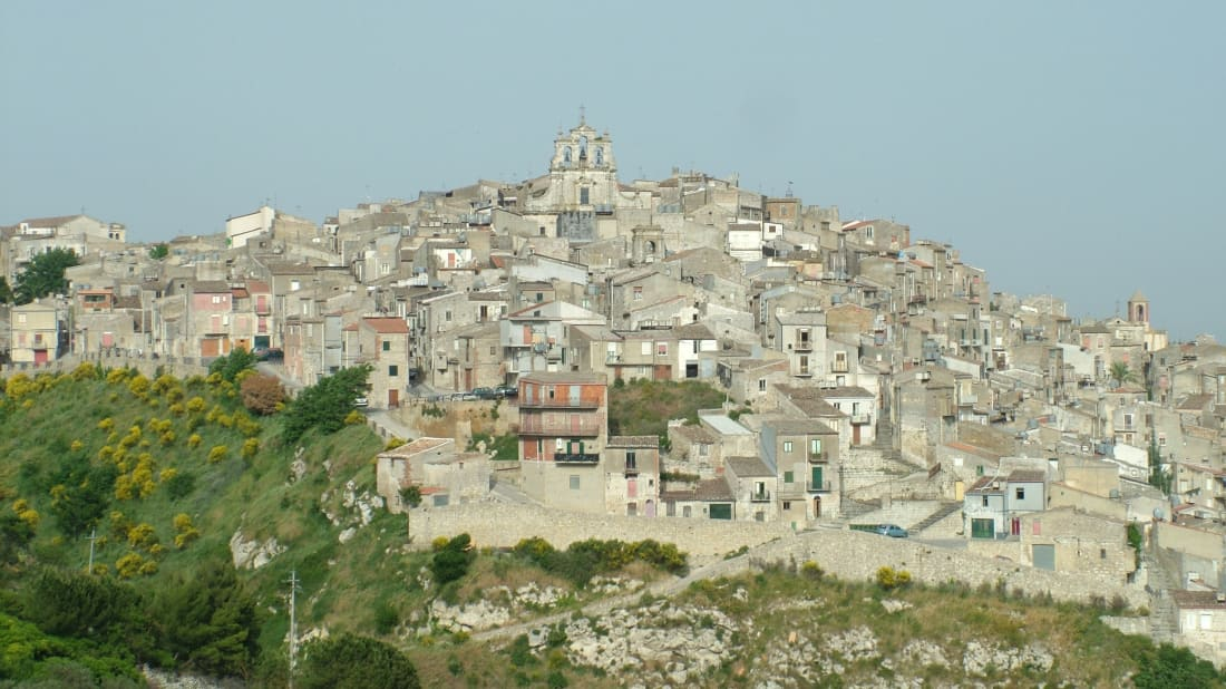 A view of Mussomeli, a town in Sicily
