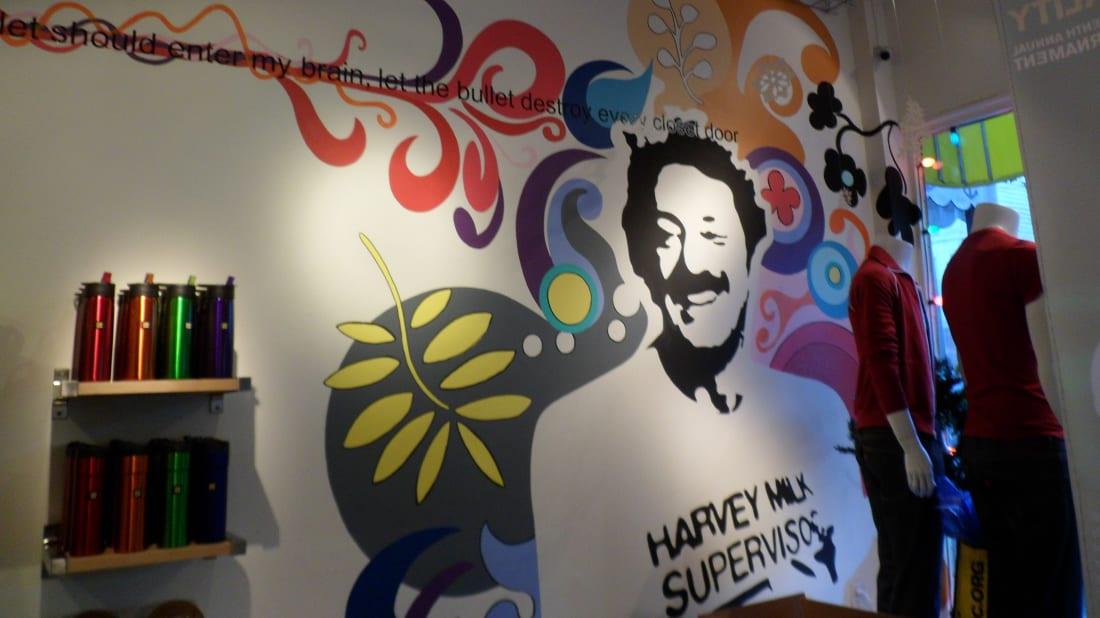 A Harvey Milk mural inside the politician's former Castro Camera Shop.