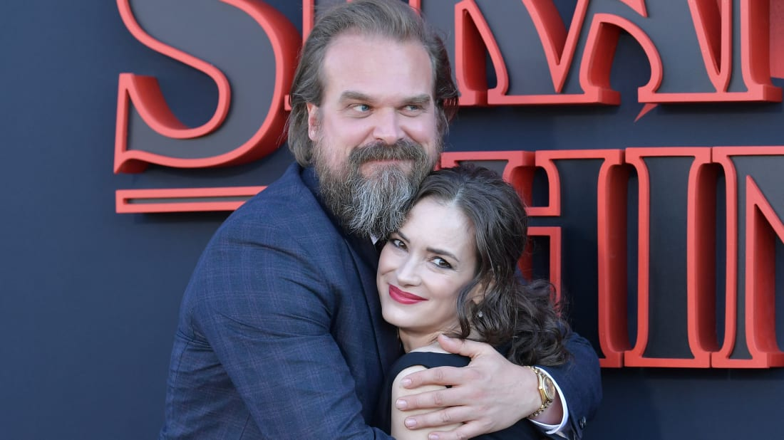 "David Harbour and Winona Ryder attend the premiere of Netflix's ""Stranger Things"" Season 3 in 2019"