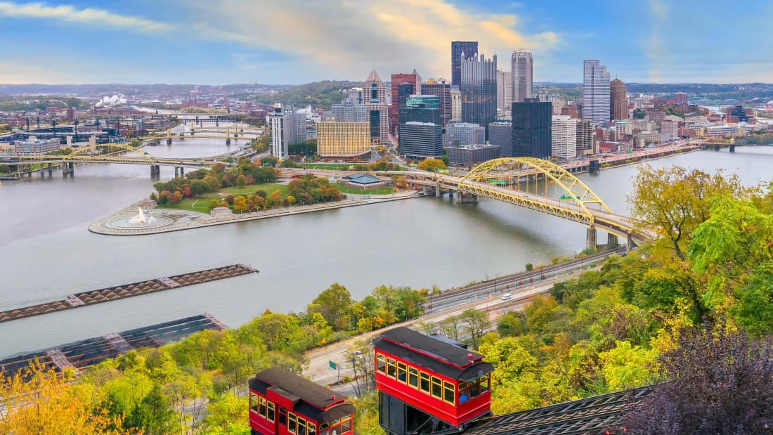 A skyline view of Pittsburgh, Pennsylvania.