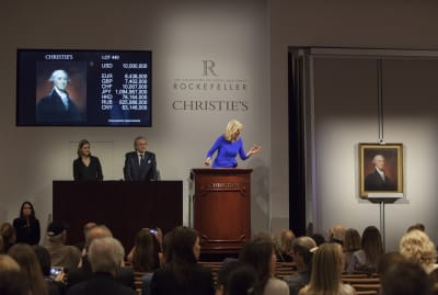 Christie's auctioneer Tash Perrin conducts a sale.