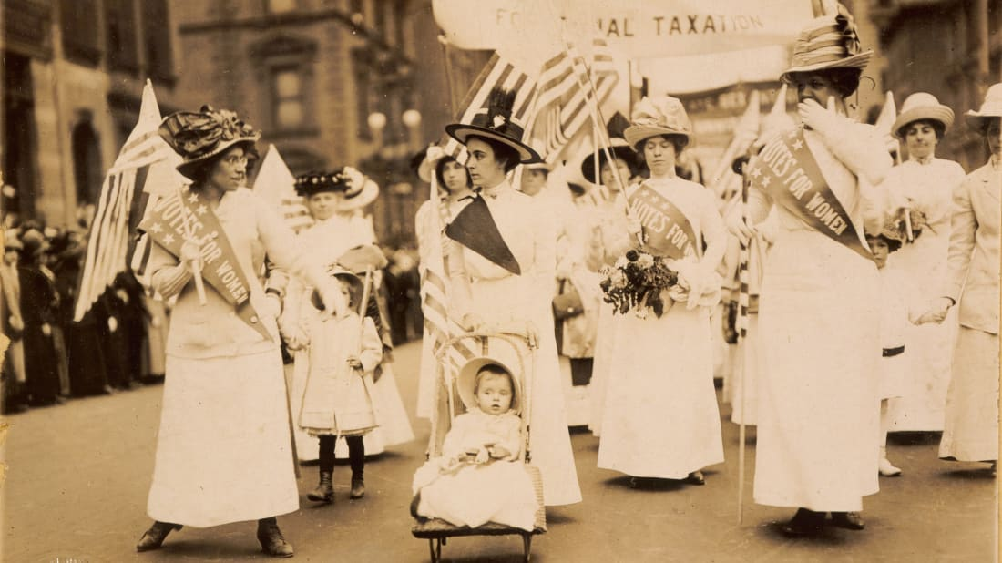 Suffragettes march in a New York City parade in 1912.