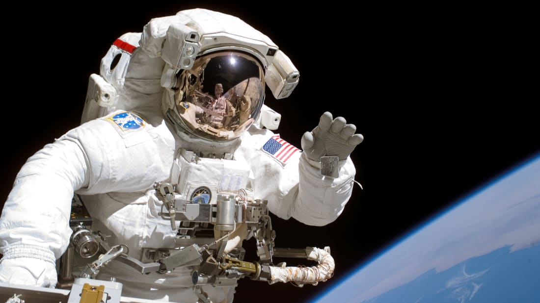American astronaut Joseph Tanner on a space walk in 2006