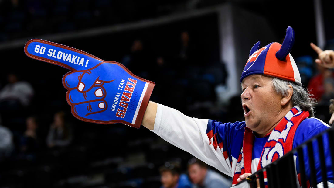 A Slovakian fan cheers on his team at the Men's Ice Hockey World Cup.