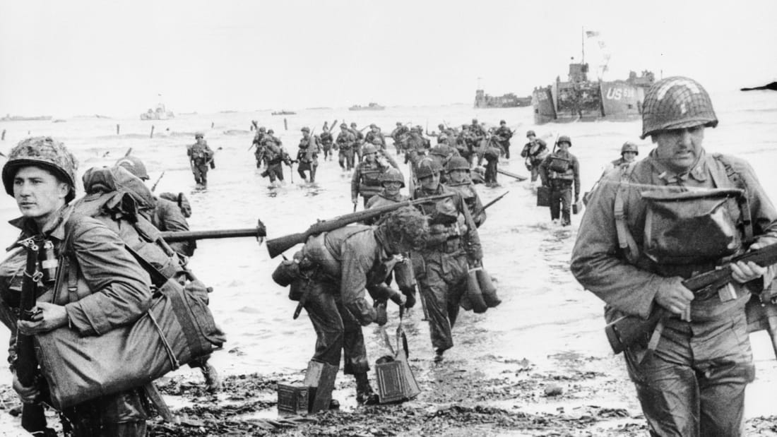 American troops landing on Omaha beach at Normandy on D-Day.
