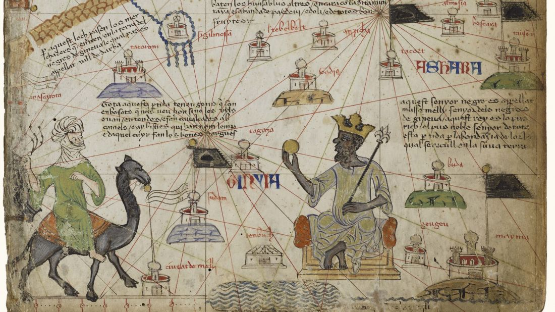 Reproduction of the Catalan Atlas featuring Mansa Musa.