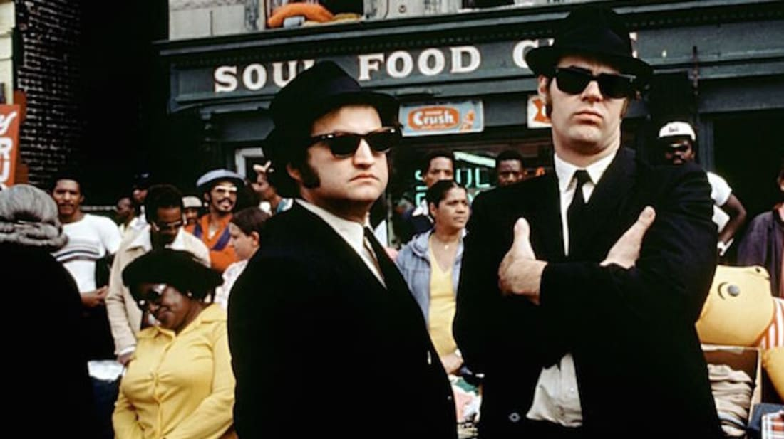 John Belushi and Dan Aykroyd star in The Blues Brothers (1980).