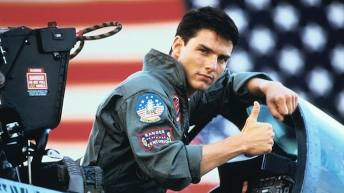 Tom Cruise stars in Top Gun (1986).