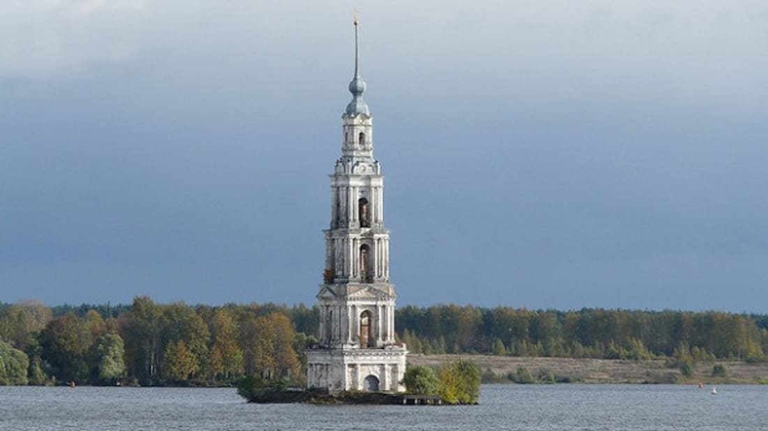 The flooded belfry of Kalyazin, Russia