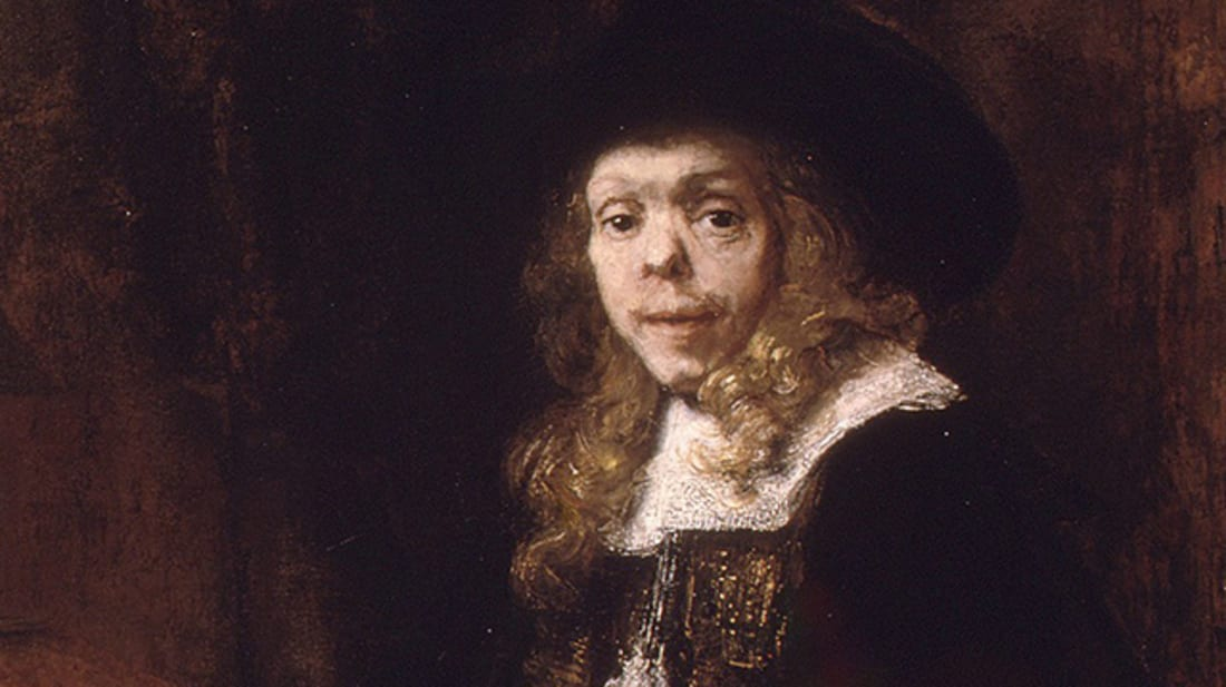 Portrait of Gerard de Lairesse by Rembrandt van Rijn. De Lairesse, a painter and art theorist, had congenital syphilis that deformed his face and eventually blinded him.