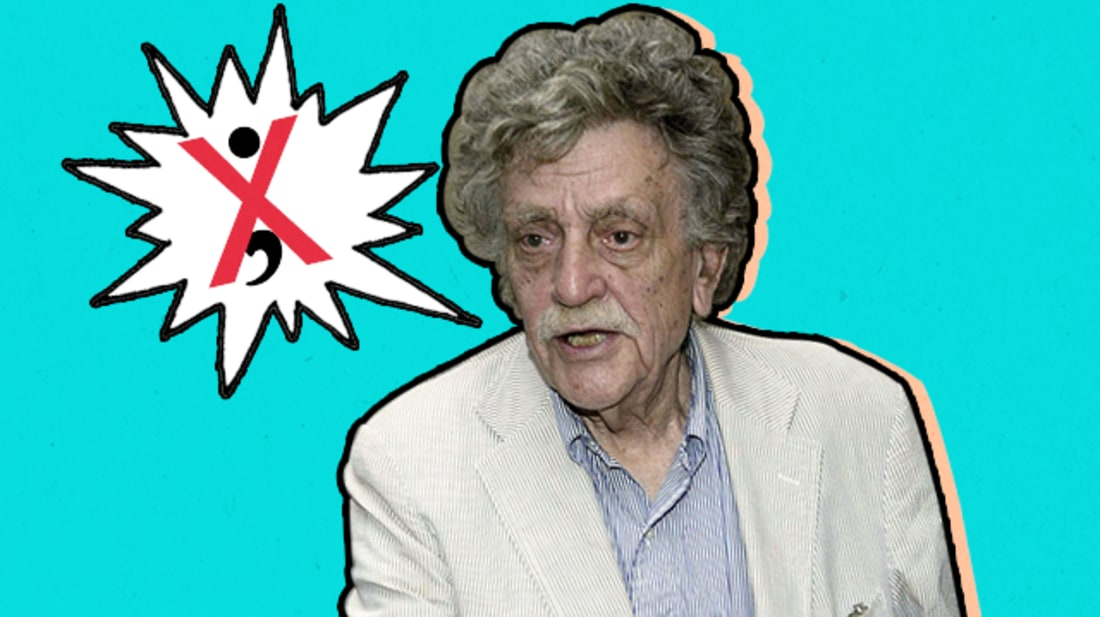 Rebecca O'Connell / iStock (texture and word bubble) / Getty Images (Vonnegut)