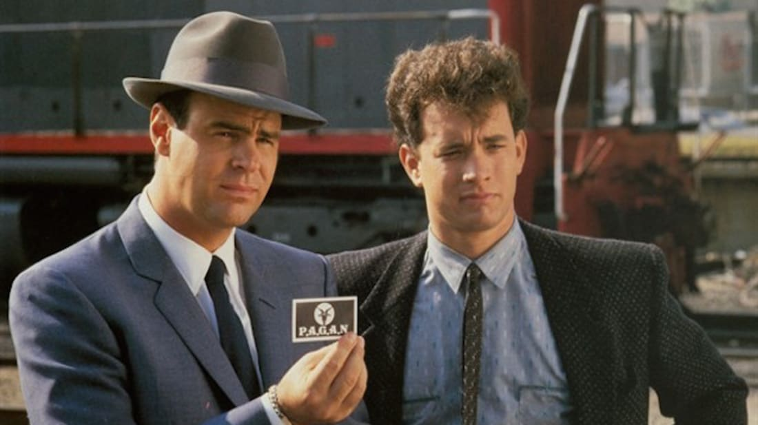 Dan Aykroyd And Tom Hanks star in Dragnet (1987).