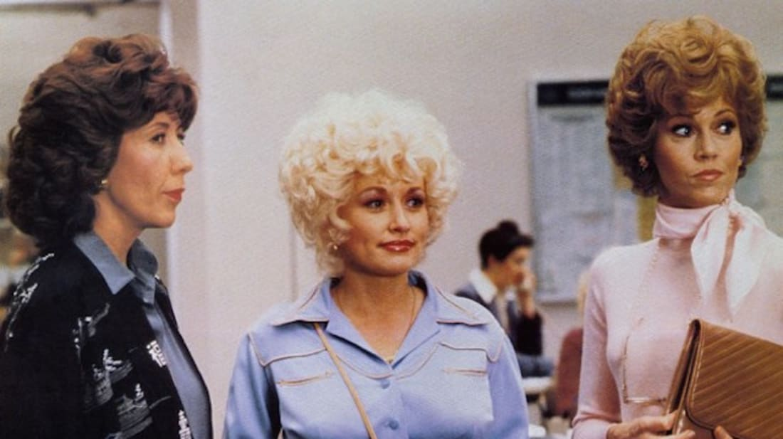 Lily Tomlin, Dolly Parton, and Jane Fonda star in 9 to 5 (1980).