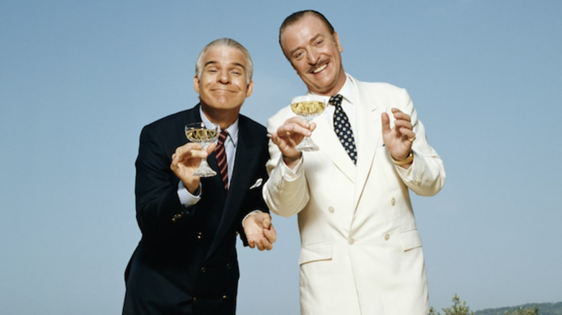 Steve Martin and Michael Caine in Dirty Rotten Scoundrels (1988).