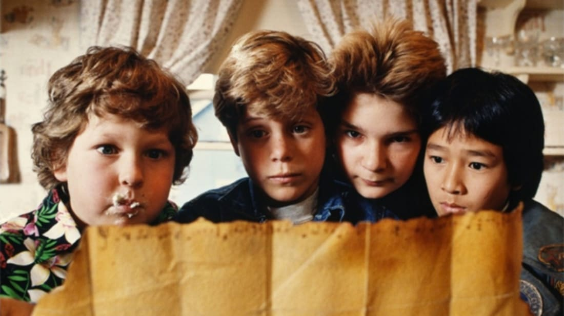 Jeff Cohen, Sean Astin, Corey Feldman, and Ke Huy Quan in The Goonies (1985).