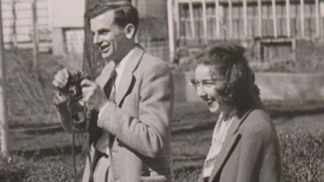 Flannery O'Connor with writer and editor Robie Macauley.