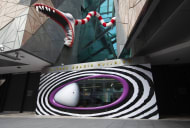 A Tim Burton sculpture representative of what might be on display at the Neon Museum