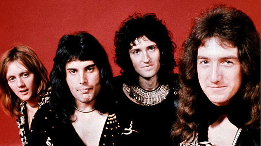 Queen's Roger Taylor, Freddie Mercury, Brian May, and John Deacon pose in London in 1973.