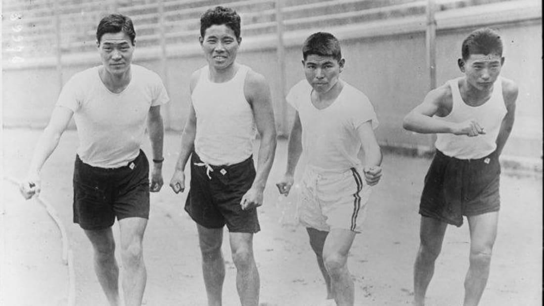 Runners Kenzo Yashima, Yahei Miura, Shizo Kanakuri, and Zensaku Motegi.