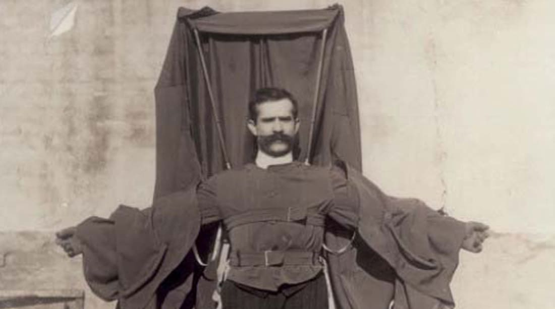 "Franz Reichelt is now remembered as the ""flying tailor."""