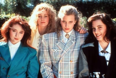 Shannen Doherty, Lisanne Falk, Kim Walker, and Winona Ryder star in Heathers (1989).