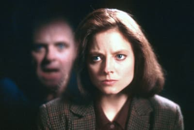 Anthony Hopkins and Jodie Foster star in The Silence of the Lambs (1991).
