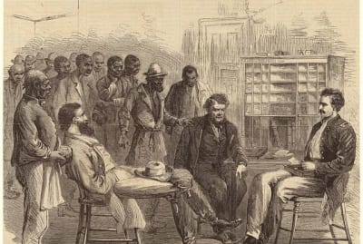 A depiction of the office of the Freedmen's Bureau in Memphis, Tennessee.