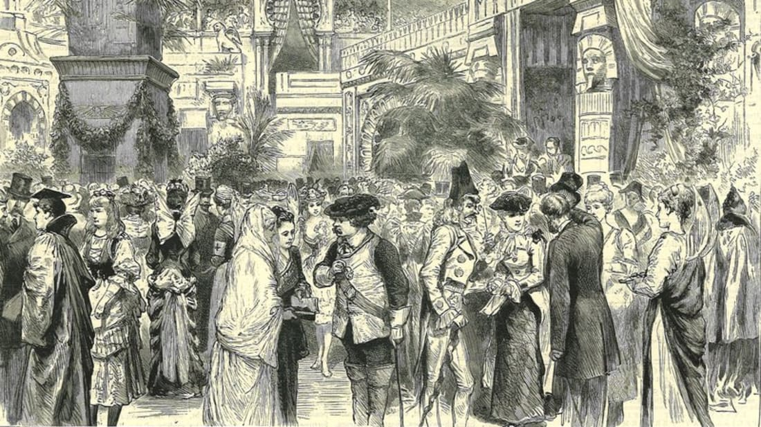 An illustration of the Vril-Ya Bazaar and Fete.