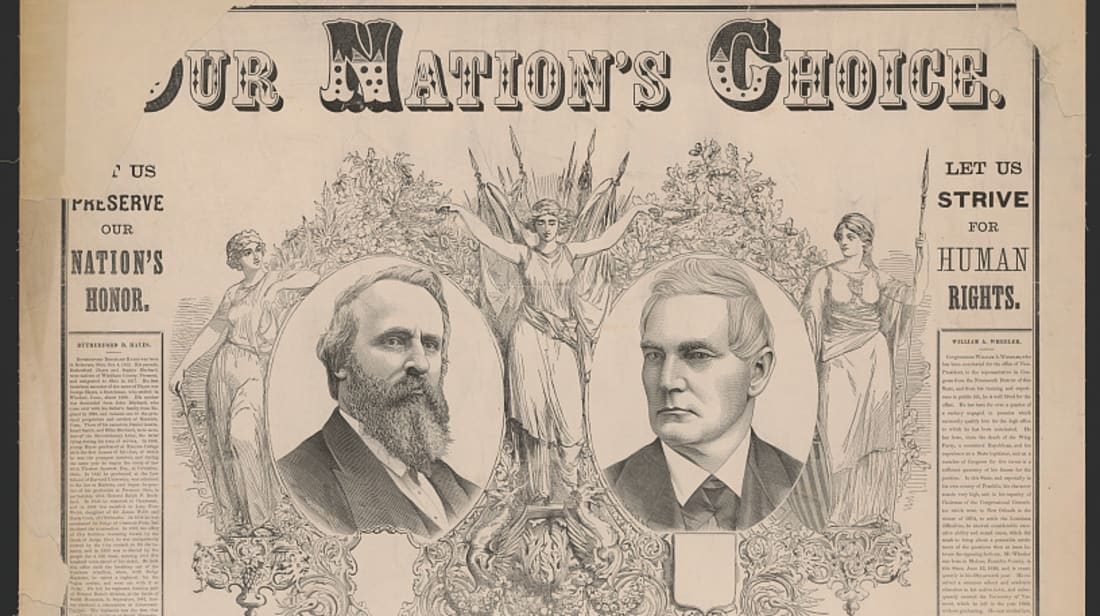 """An 1876 pamphlet reads, """"[O]ur nation's choice, Rutherford B. Hayes, William A. Wheeler."""""""