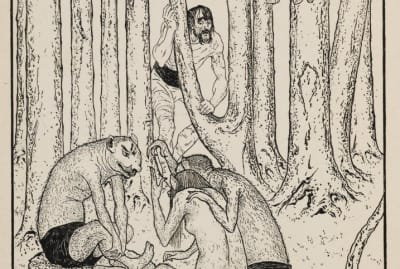 A lithograph by Charles Robert Ashbee for H.G. Wells's The Island of Dr Moreau