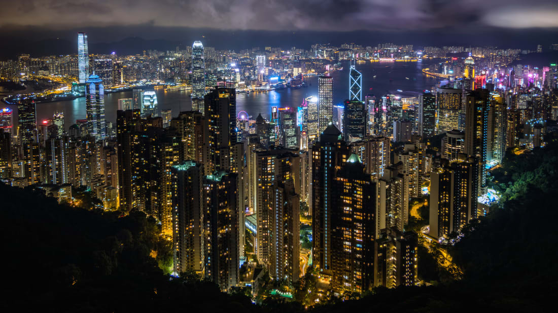 A skyline view of Hong Kong and Victoria Harbour.