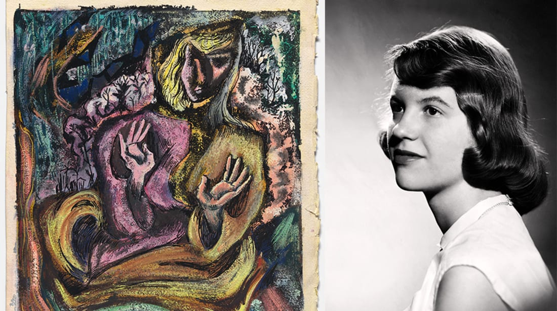 Self-Portrait in Semi-Abstract Style by Sylvia Plath, Ink and gouache on paper, c. 1946-1952, Estate of Robert Hittel, ©Estate of Sylvia Plath. 