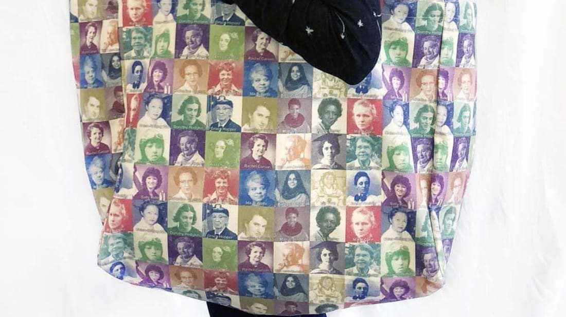 This bag features many prominent women scientists.