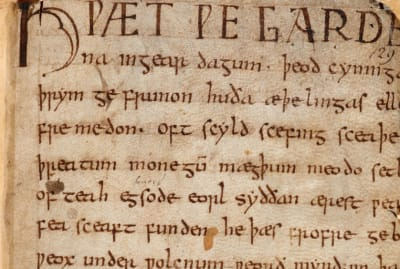 The Anglo-Saxon poem 'Beowulf' written in Old English