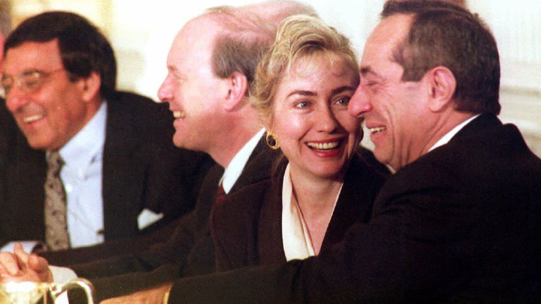Mario Cuomo (seated with Hilary Clinton) declined President Bill Clinton's offer for Supreme Court candidacy.