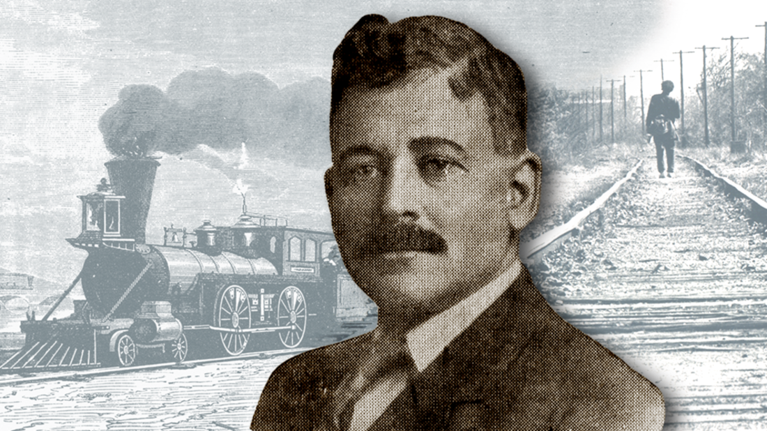 Photo illustration by Lucy Quintanilla, Mental Floss. Trains, iStock. Portrait, Project Gutenberg // Public Domain