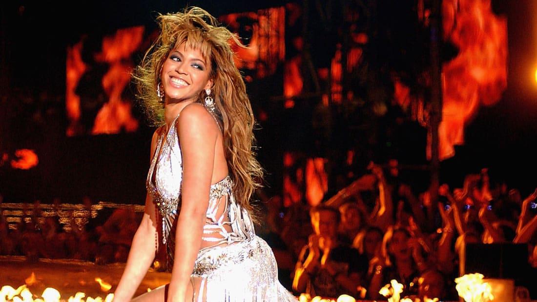 Beyoncé Knowles performs during the 2003 MTV Europe Music Awards in Edinburgh, Scotland.
