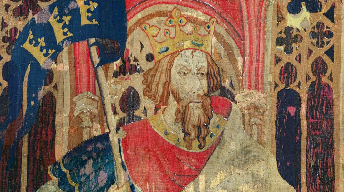 A 14th-century tapestry of King Arthur.